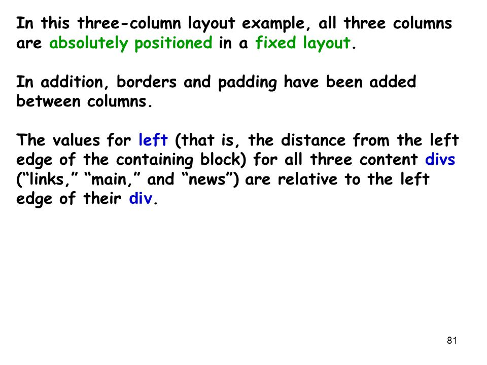 81 In this three-column layout example, all three columns are absolutely positioned in a fixed layout.