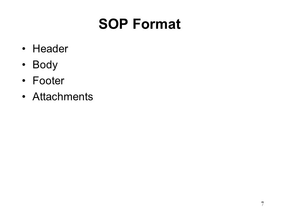 7 SOP Format Header Body Footer Attachments