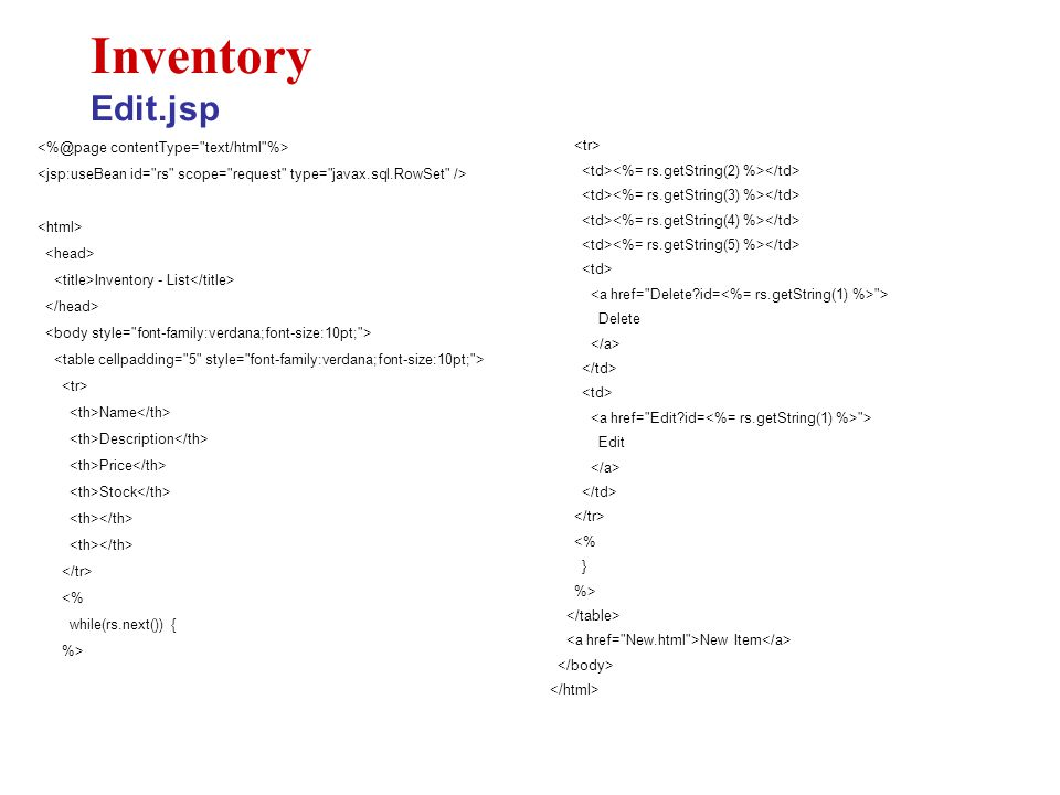 Inventory - List Name Description Price Stock <% while(rs.next()) { %> Inventory Edit.jsp > Delete > Edit <% } %> New Item