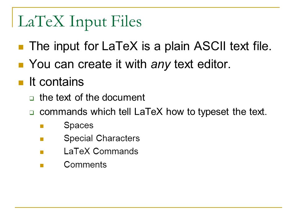 Example … \documentclass[12pt]{article} \usepackage{amsmath} \title{\LaTeX} \date{} \begin{document} \maketitle \LaTeX{} is a document preparation system for the \TeX{} typesetting program.