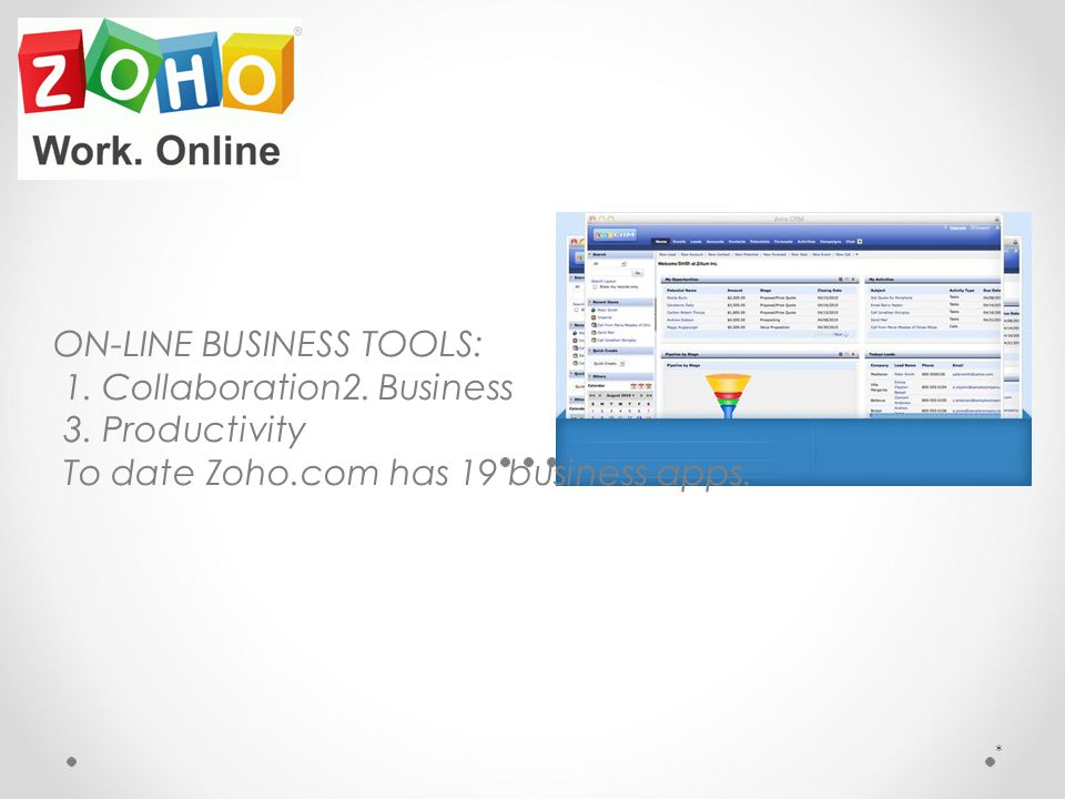 ON-LINE BUSINESS TOOLS: 1. Collaboration2. Business 3. Productivity To date Zoho.com has 19 business apps. *