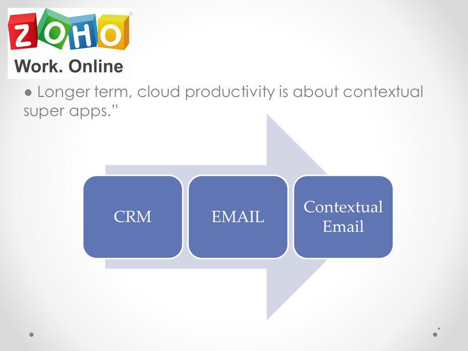 ● Longer term, cloud productivity is about contextual super apps. *