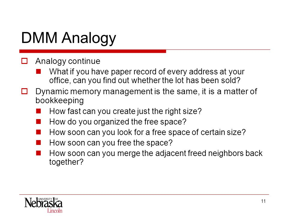 11 DMM Analogy  Analogy continue What if you have paper record of every address at your office, can you find out whether the lot has been sold.