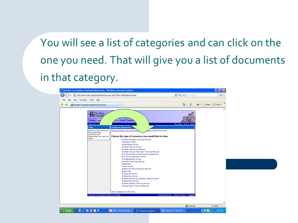 You will see a list of categories and can click on the one you need. That will give you a list of documents in that category.