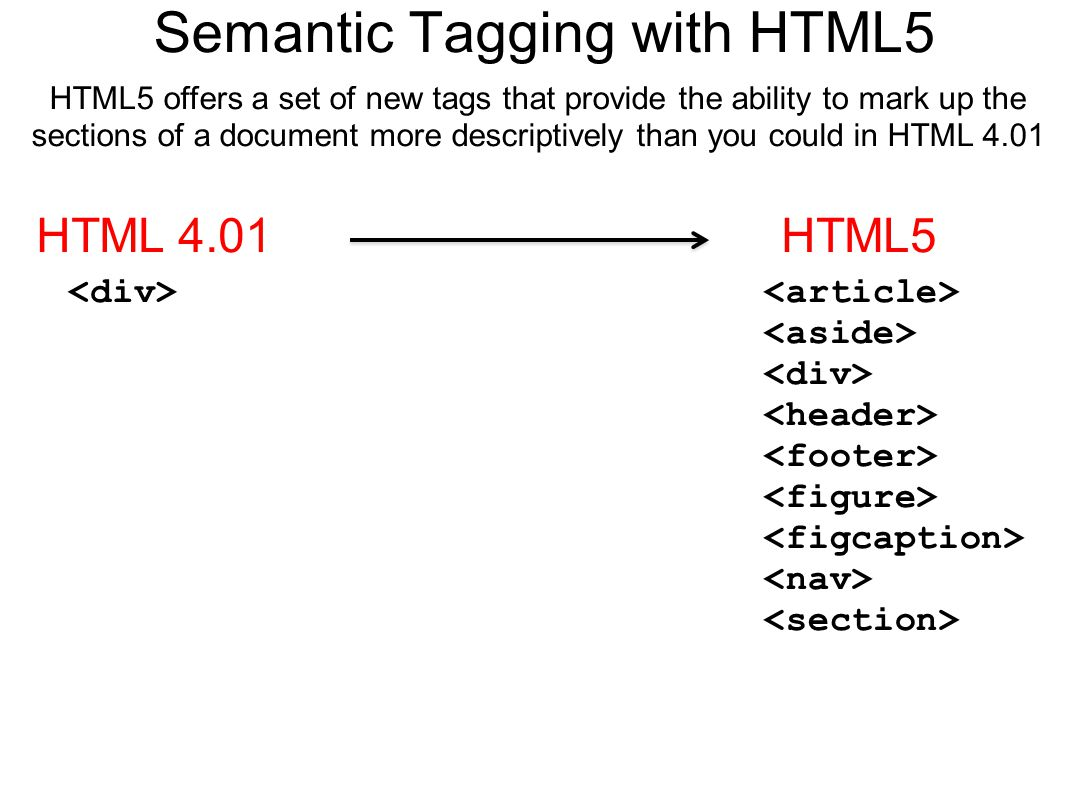 Semantic Tagging with HTML5 HTML5 offers a set of new tags that provide the ability to mark up the sections of a document more descriptively than you