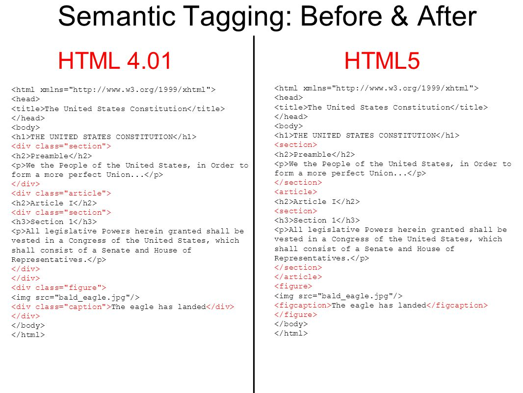 Semantic Tagging: Before & After HTML 4.01HTML5 The United States Constitution THE UNITED STATES CONSTITUTION Preamble We the People of the United States, in Order to form a more perfect Union...