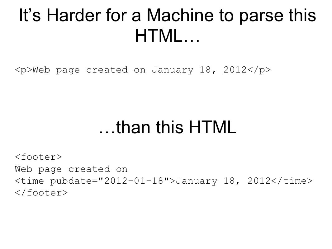 It's Harder for a Machine to parse this HTML… Web page created on January 18, 2012 …than this HTML Web page created on January 18, 2012