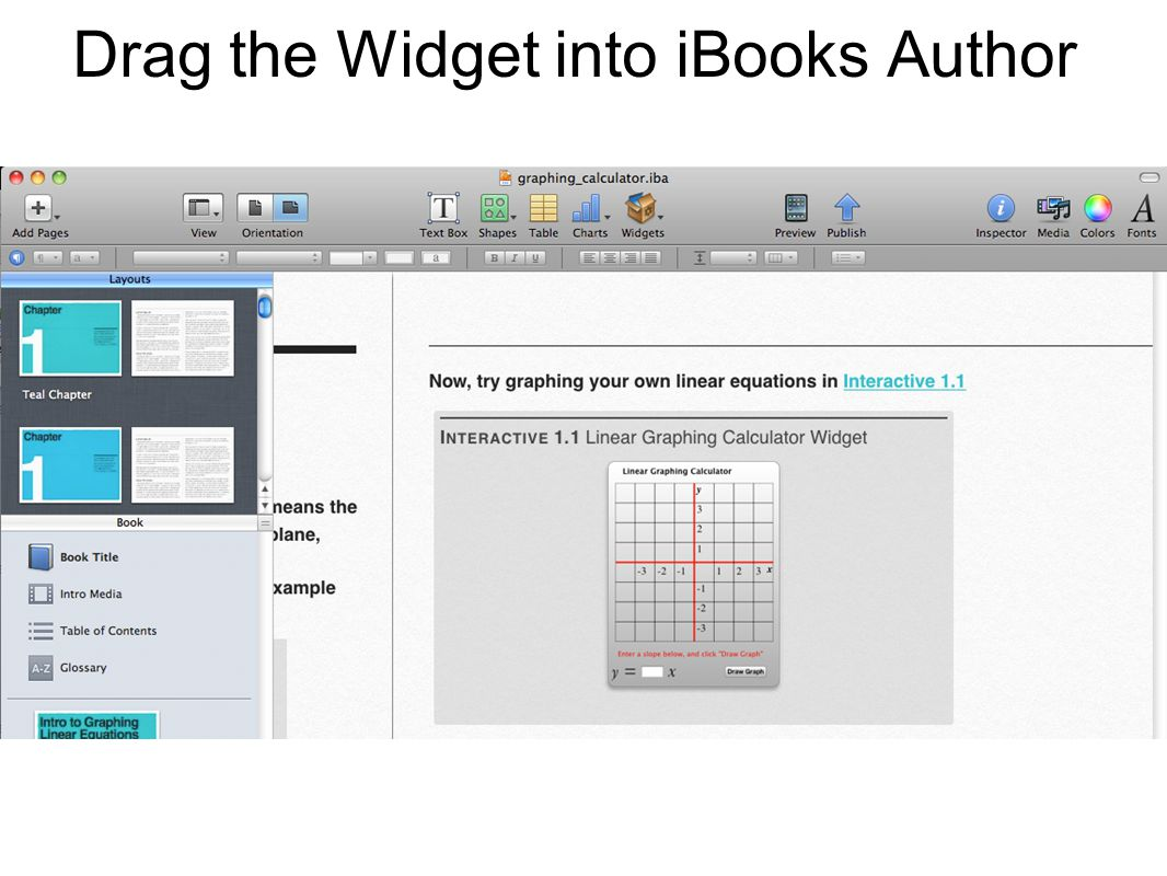 Drag the Widget into iBooks Author
