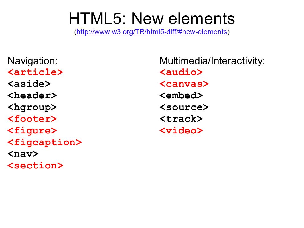 HTML5: New elements (http://www.w3.org/TR/html5-diff/#new-elements)http://www.w3.org/TR/html5-diff/#new-elements Navigation: Multimedia/Interactivity: