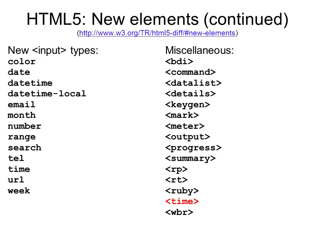 HTML5: New elements (continued) (http://www.w3.org/TR/html5-diff/#new-elements)http://www.w3.org/TR/html5-diff/#new-elements New types: color date datetime datetime-local email month number range search tel time url week Miscellaneous: