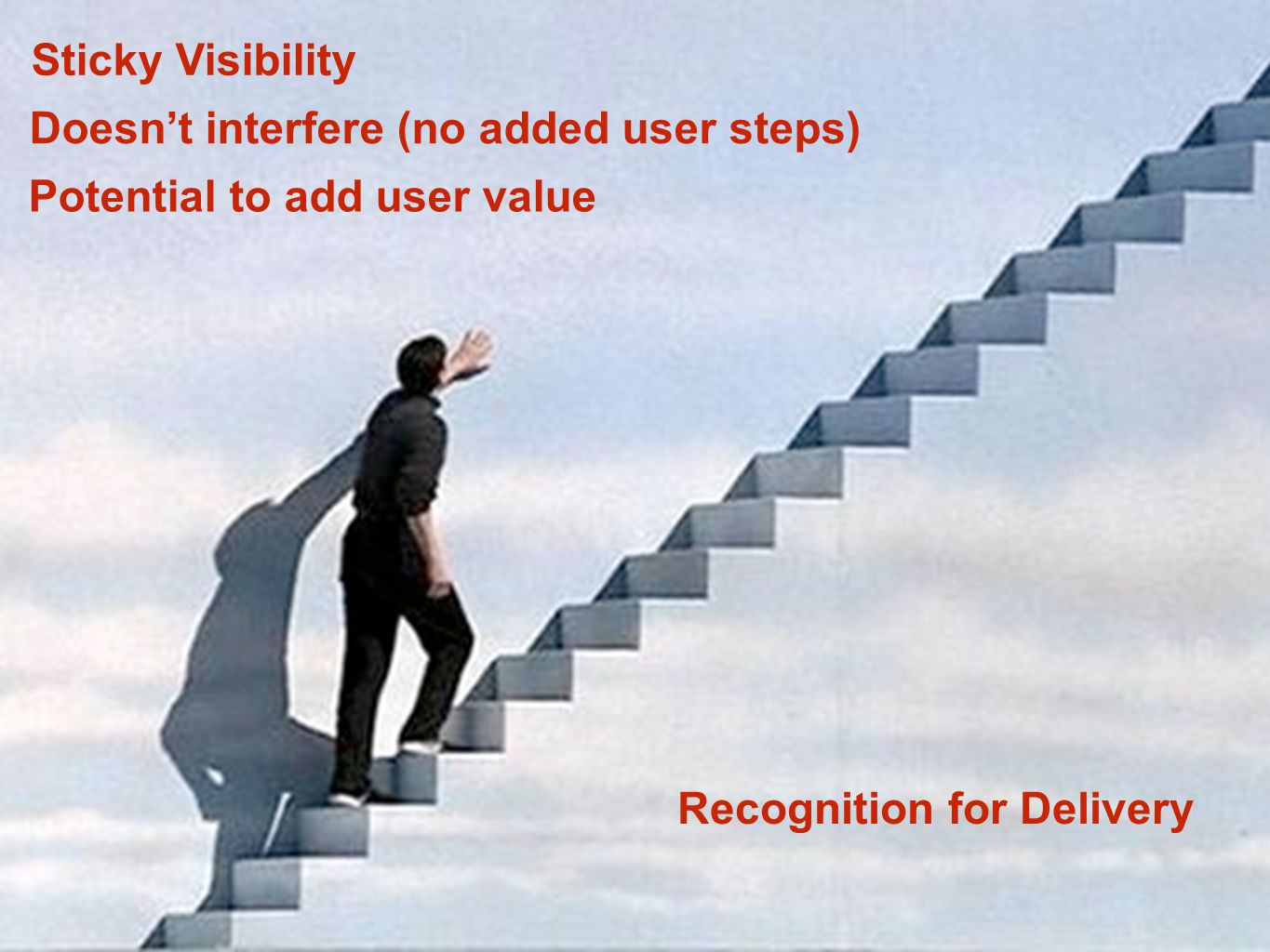 Sticky Visibility Doesn't interfere (no added user steps) Potential to add user value Recognition for Delivery