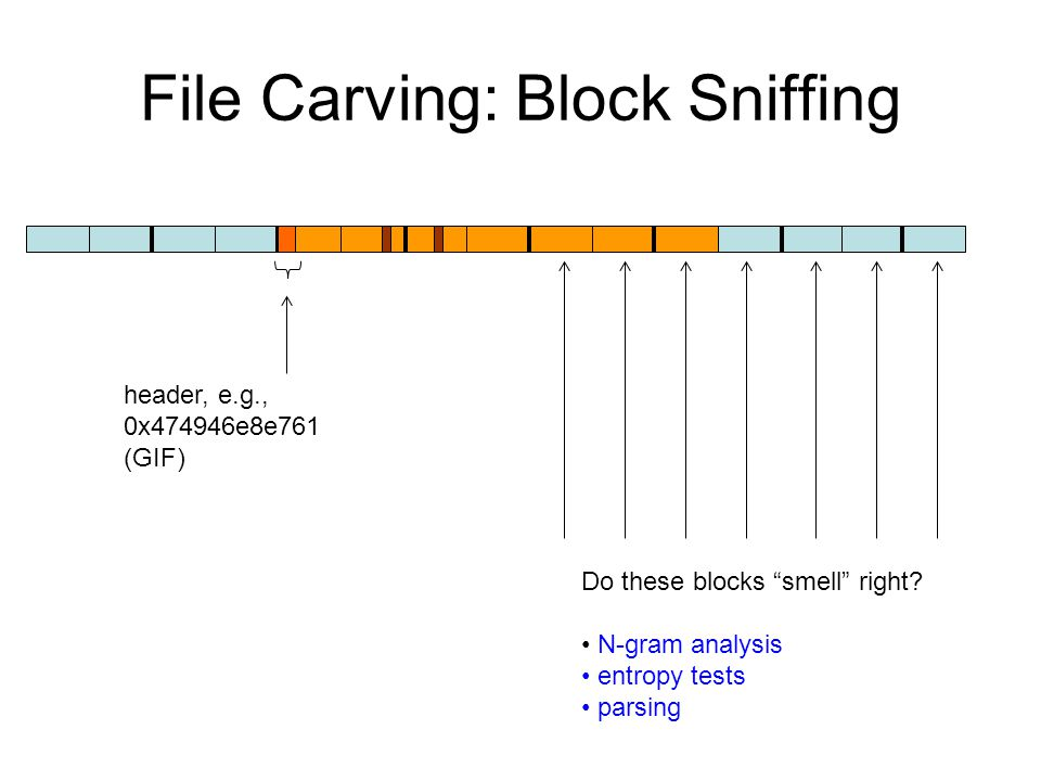 File Carving: Block Sniffing header, e.g., 0x474946e8e761 (GIF) Do these blocks smell right.
