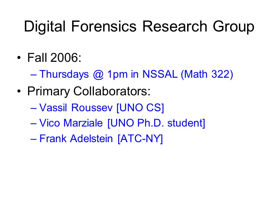 Presentation available: http://www.cs.uno.edu/~golden/teach.html golden@cs.uno.edu Security Lab (NSSAL): Math 322 ?
