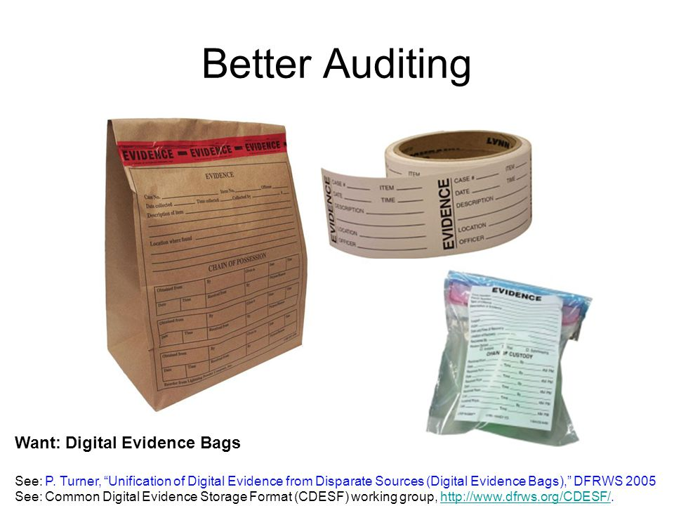 Better Auditing Want: Digital Evidence Bags See: P.