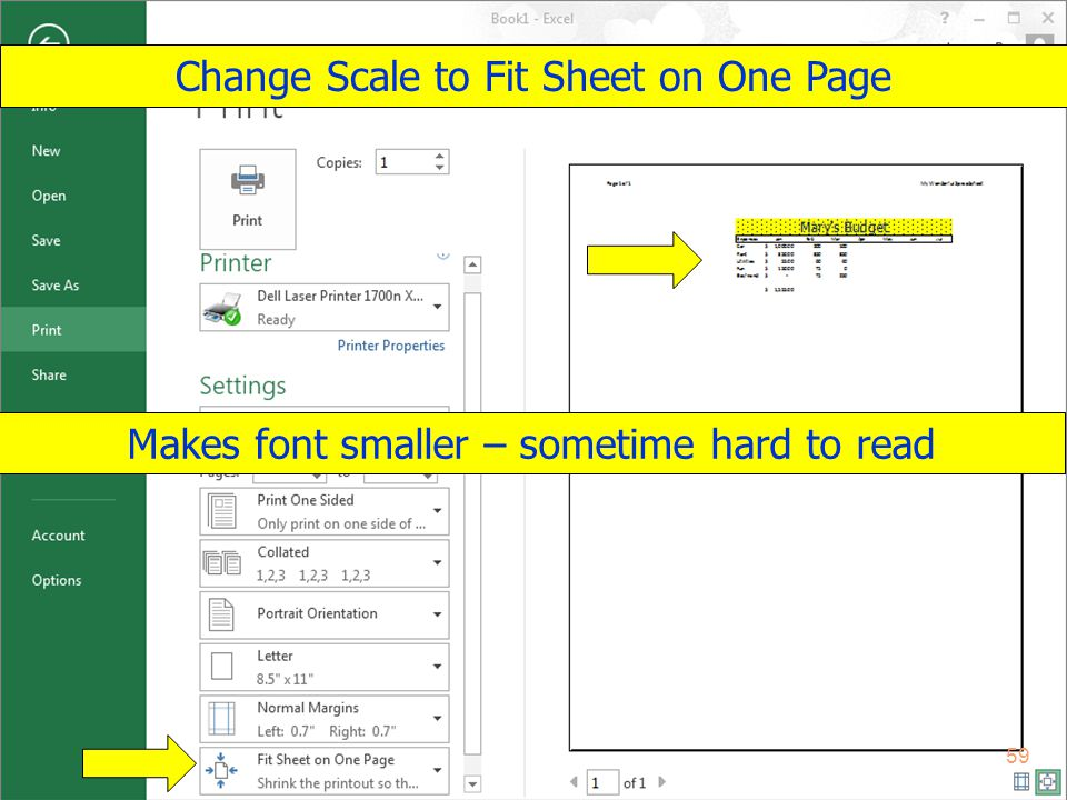 Copyright 2013 by Janson Industries 59 Change Scale to Fit Sheet on One Page Makes font smaller – sometime hard to read