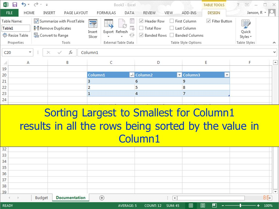 Copyright 2013 by Janson Industries 85 Sorting Largest to Smallest for Column1 results in all the rows being sorted by the value in Column1