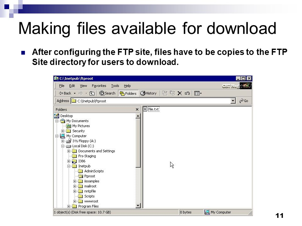 11 Making files available for download After configuring the FTP site, files have to be copies to the FTP Site directory for users to download.