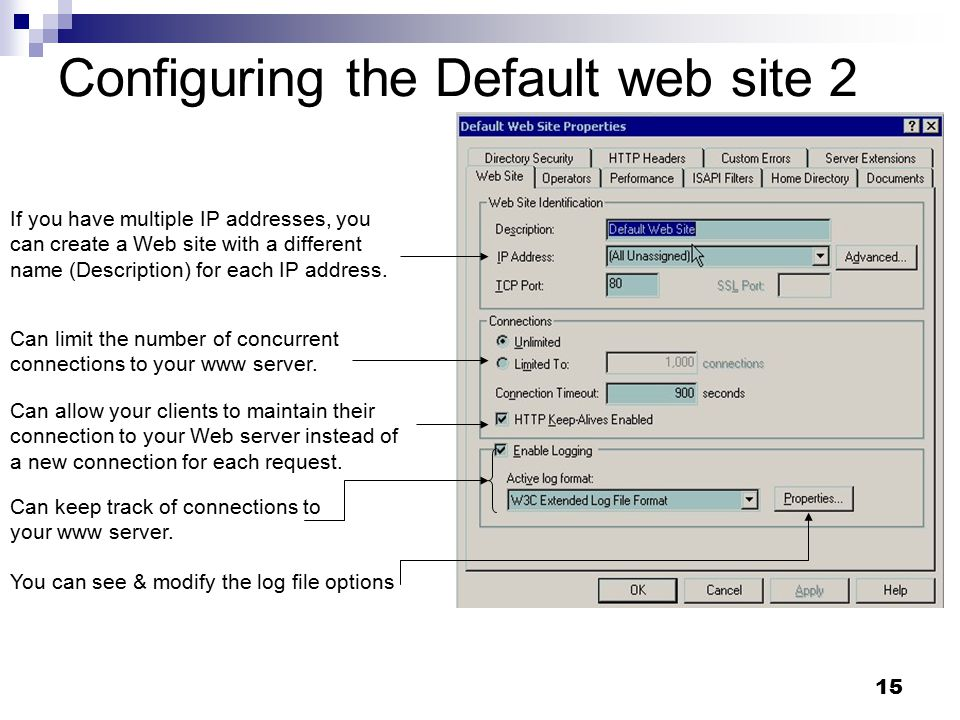 15 Configuring the Default web site 2 Can allow your clients to maintain their connection to your Web server instead of a new connection for each request.