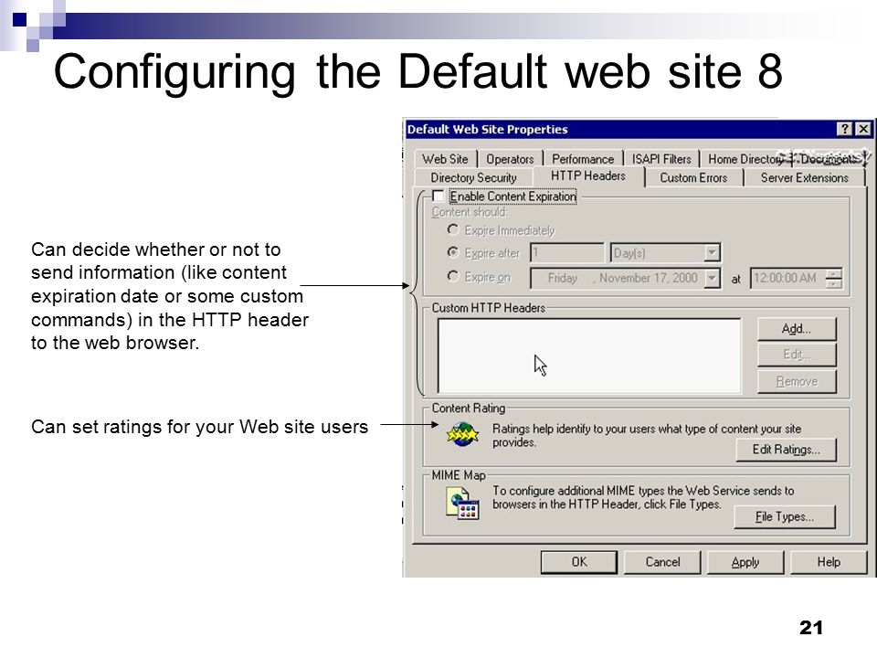 21 Configuring the Default web site 8 Can set ratings for your Web site users Can decide whether or not to send information (like content expiration date or some custom commands) in the HTTP header to the web browser.