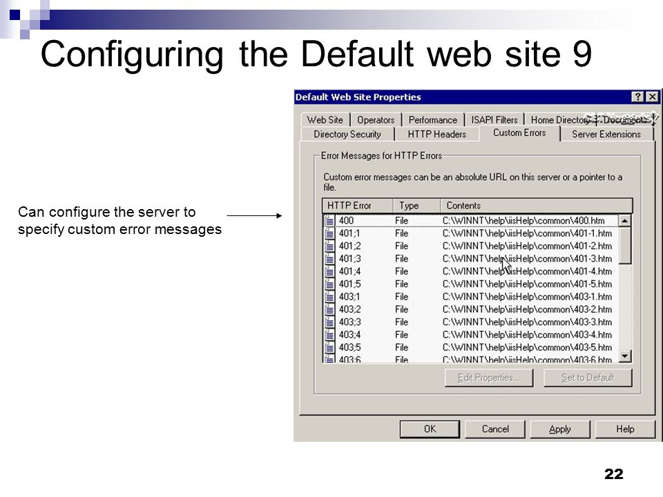 22 Configuring the Default web site 9 Can configure the server to specify custom error messages