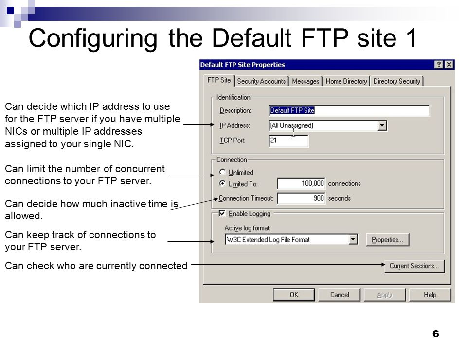 17 Configuring the Default web site 4 ISAPI filters are programs that will execute in response to HTTP requests.
