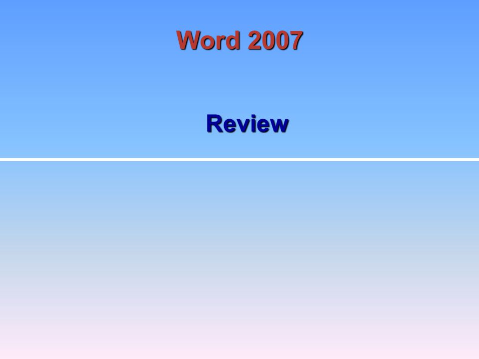 Review Word 2007