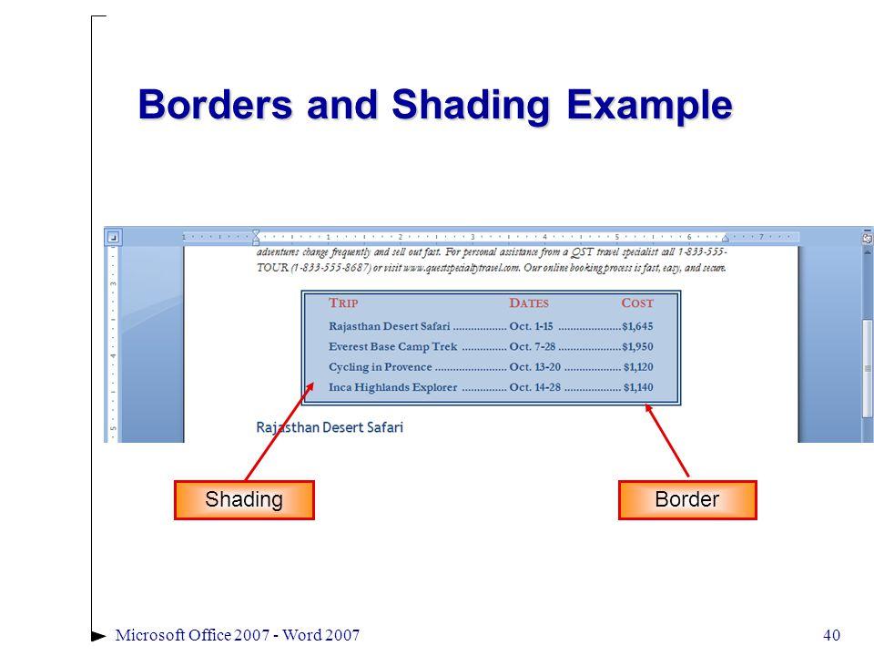 Microsoft Office 2007 - Word 200740 Borders and Shading Example Border Shading