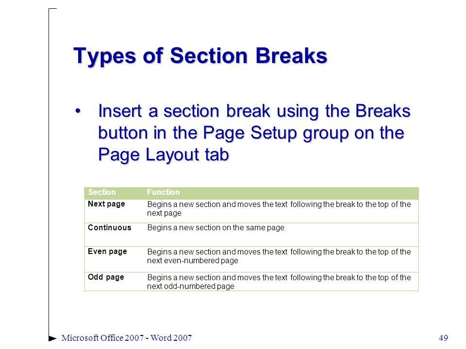 49Microsoft Office 2007 - Word 2007 Types of Section Breaks Insert a section break using the Breaks button in the Page Setup group on the Page Layout tabInsert a section break using the Breaks button in the Page Setup group on the Page Layout tab SectionFunction Next pageBegins a new section and moves the text following the break to the top of the next page ContinuousBegins a new section on the same page Even pageBegins a new section and moves the text following the break to the top of the next even-numbered page Odd pageBegins a new section and moves the text following the break to the top of the next odd-numbered page