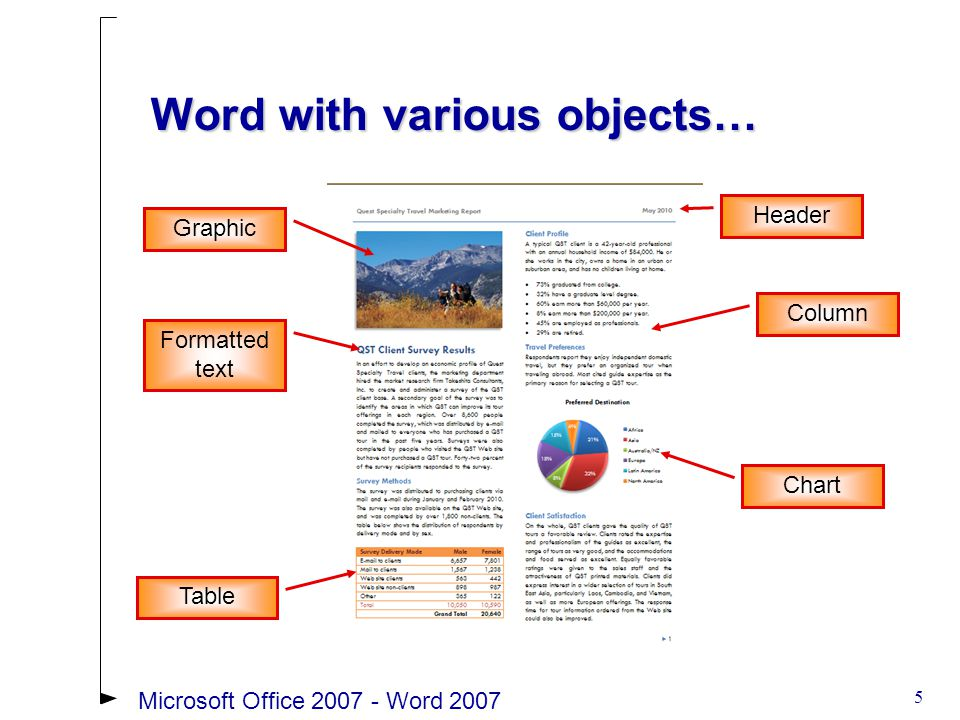 56Microsoft Office 2007 - Word 2007 Headers and Footers Example Document text is dimmed when the Header and Footer areas are openDocument text is dimmed when the Header and Footer areas are open Dimmed text can't be editedDimmed text can't be edited The Header and Footers areas are independent of the document itself and must be formatted separatelyThe Header and Footers areas are independent of the document itself and must be formatted separately Header & Footer Tools Design Tab Header area open with content control