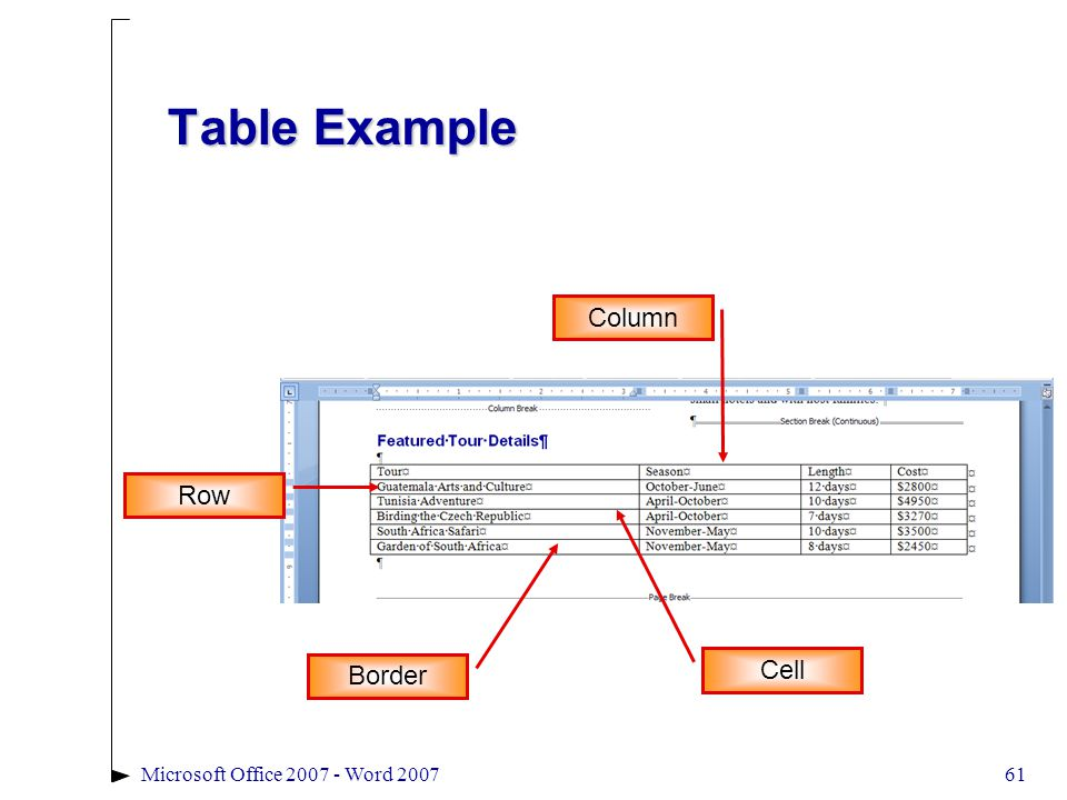 61Microsoft Office 2007 - Word 2007 Table Example Border Row Column Cell