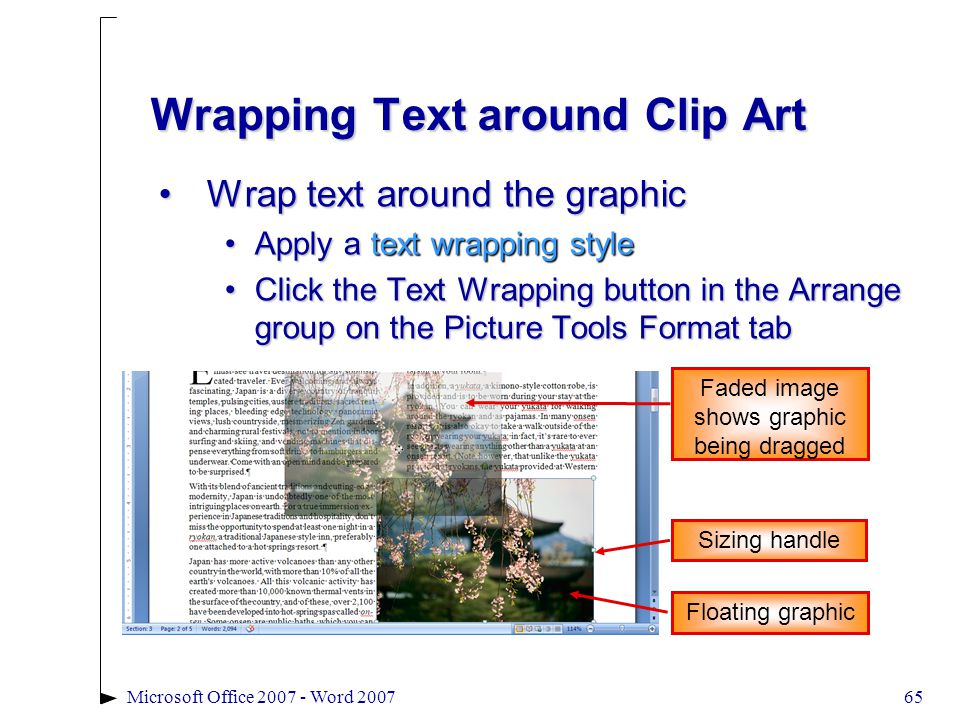 65Microsoft Office 2007 - Word 2007 Wrapping Text around Clip Art Wrap text around the graphicWrap text around the graphic Apply a text wrapping styleApply a text wrapping style Click the Text Wrapping button in the Arrange group on the Picture Tools Format tabClick the Text Wrapping button in the Arrange group on the Picture Tools Format tab Floating graphic Faded image shows graphic being dragged Sizing handle