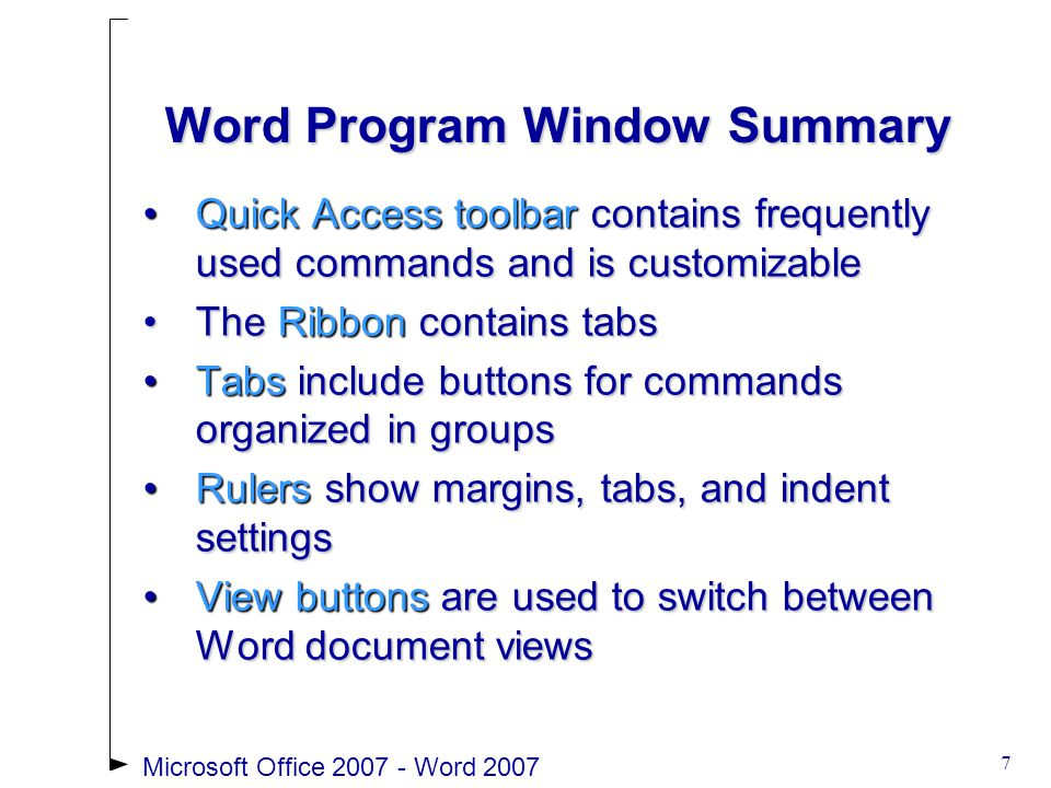 Microsoft Office 2007 - Word 200738 Creating Outlines To create a hierarchical structure in a list, apply an outline numbering styleTo create a hierarchical structure in a list, apply an outline numbering style Click the Multilevel List list arrow to select and apply a multilevel list styleClick the Multilevel List list arrow to select and apply a multilevel list style Format an existing listFormat an existing list Demote items using the Increase Indent buttonDemote items using the Increase Indent button Promote items using the Decrease Indent buttonPromote items using the Decrease Indent button