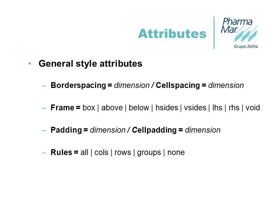 Attributes General style attributes –Borderspacing = dimension / Cellspacing = dimension –Frame = box | above | below | hsides | vsides | lhs | rhs | void –Padding = dimension / Cellpadding = dimension –Rules = all | cols | rows | groups | none