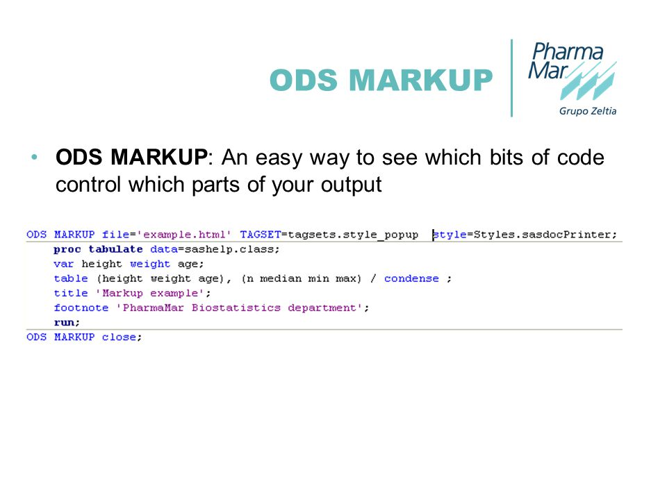 ODS MARKUP ODS MARKUP: An easy way to see which bits of code control which parts of your output