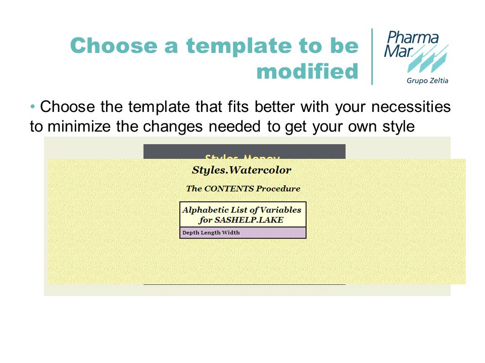 Choose a template to be modified Choose the template that fits better with your necessities to minimize the changes needed to get your own style