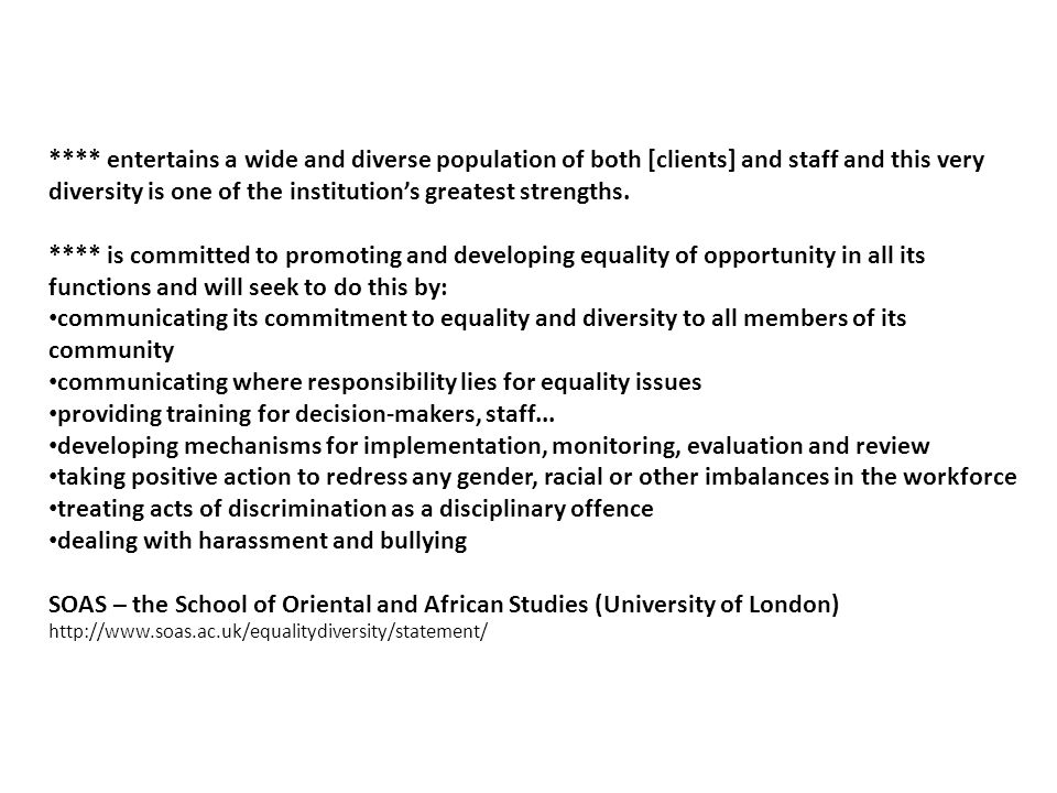 **** is committed to equality of opportunity.