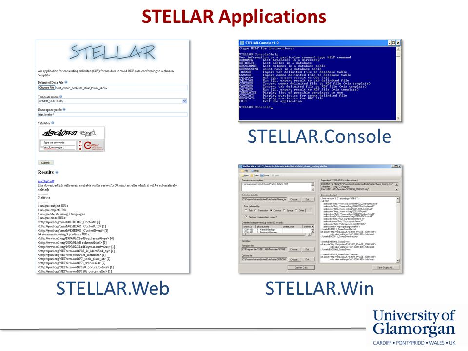 STELLAR Applications STELLAR.Console STELLAR.WebSTELLAR.Win