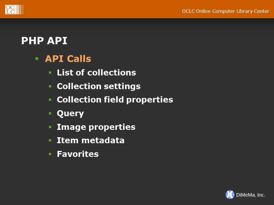 OCLC Online Computer Library Center PHP API  API Calls  List of collections  Collection settings  Collection field properties  Query  Image prop