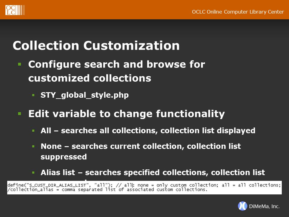 OCLC Online Computer Library Center Collection Customization  Configure search and browse for customized collections  STY_global_style.php  Edit va