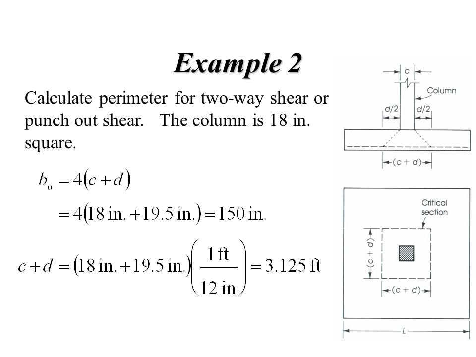 Example 2 Calculate perimeter for two-way shear or punch out shear. The column is 18 in. square.
