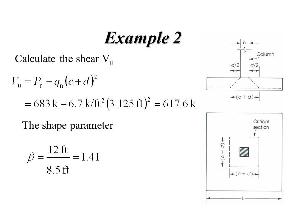 Example 2 Calculate the shear V u The shape parameter
