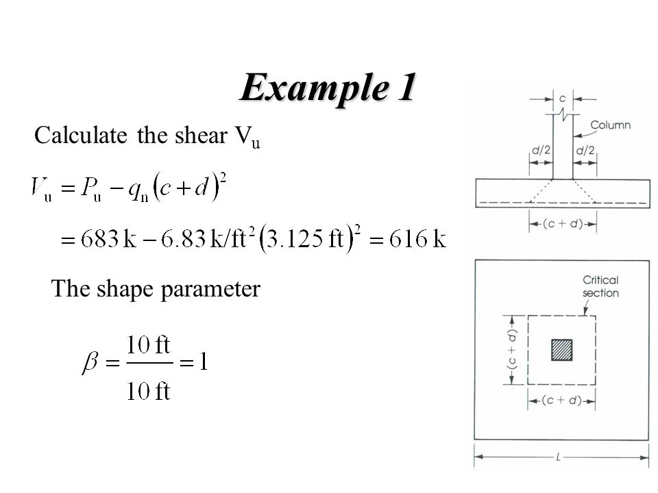 Example 2 The depth of the footing can be calculated by using the two way shear