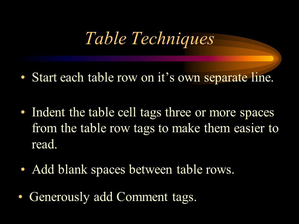 Table Techniques Start each table row on it's own separate line.