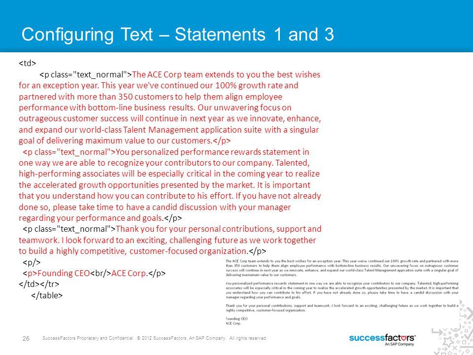 26 SuccessFactors Proprietary and Confidential © 2012 SuccessFactors, An SAP Company.