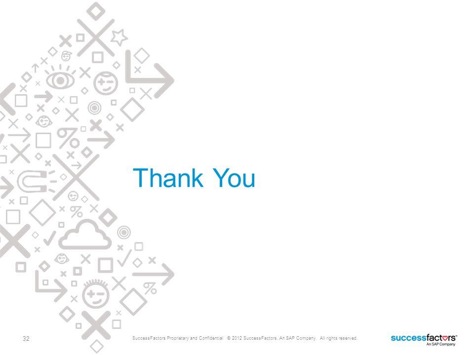 Thank You 32 SuccessFactors Proprietary and Confidential © 2012 SuccessFactors, An SAP Company.