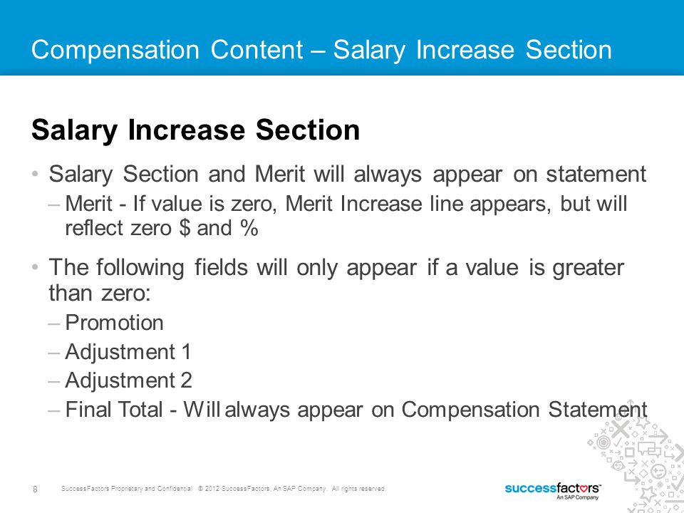 8 SuccessFactors Proprietary and Confidential © 2012 SuccessFactors, An SAP Company.