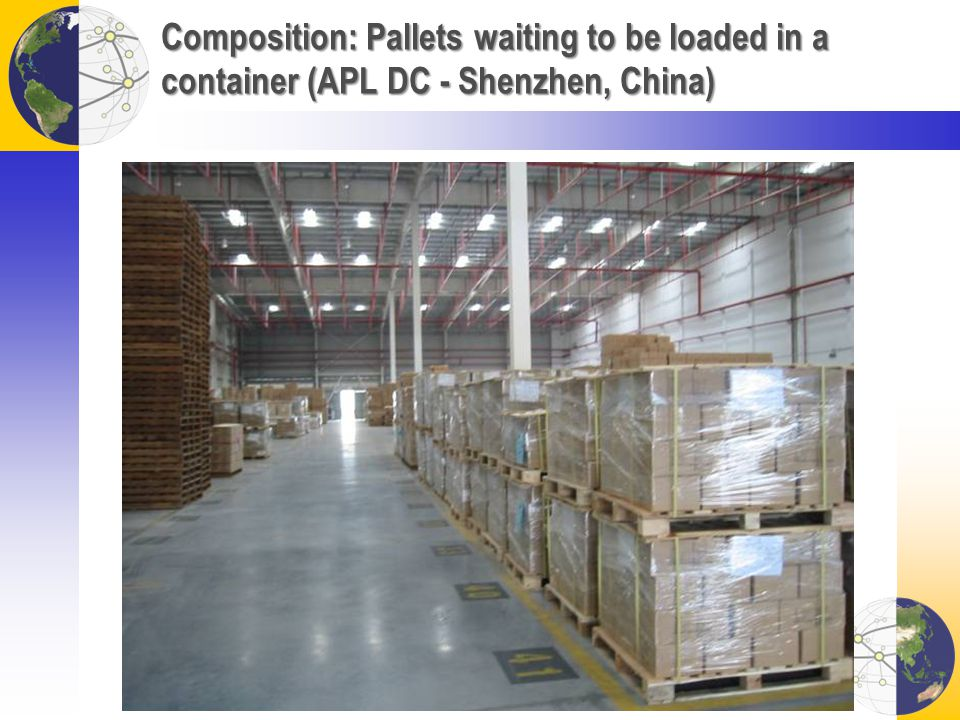 Composition: Pallets waiting to be loaded in a container (APL DC - Shenzhen, China)