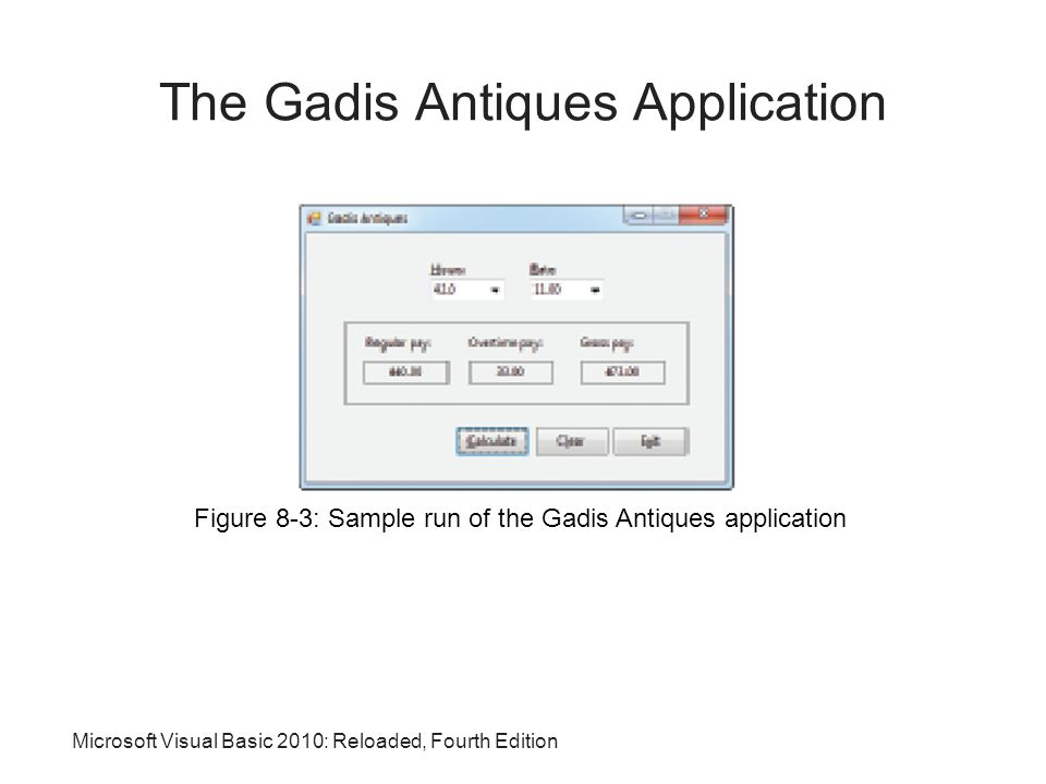 Microsoft Visual Basic 2010: Reloaded, Fourth Edition The Gadis Antiques Application Figure 8-3: Sample run of the Gadis Antiques application