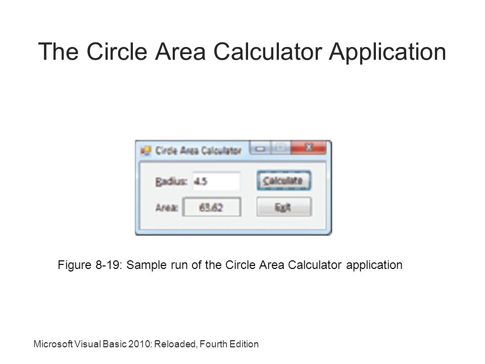 Microsoft Visual Basic 2010: Reloaded, Fourth Edition The Circle Area Calculator Application Figure 8-19: Sample run of the Circle Area Calculator application