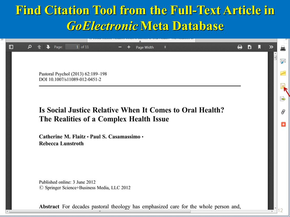 12 Find Citation Tool from the Full-Text Article in GoElectronic Meta Database